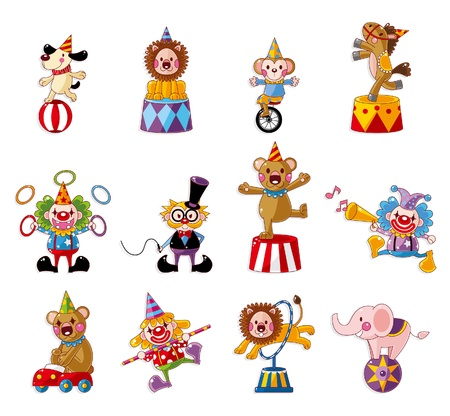 cartoon blij circusvoorstelling iconen collectie