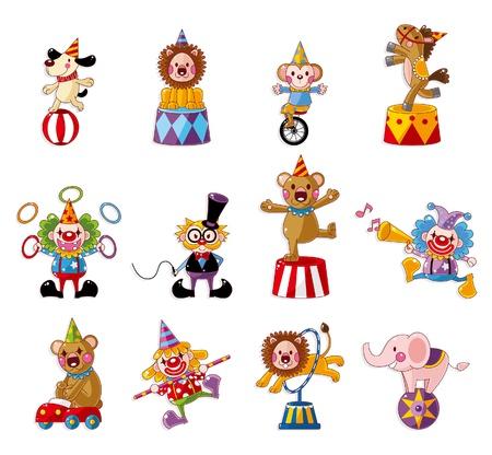 cirkusz: Cartoon boldog cirkuszi show ikonok gyűjtés