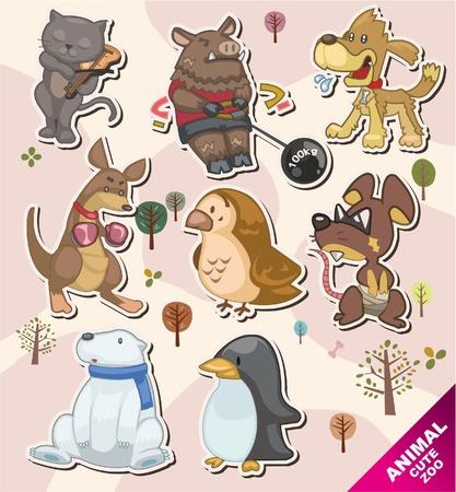 polar: cartoon animal icon Stickers,Label