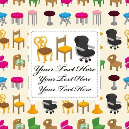 cartoon chair furniture card  Vector