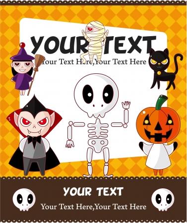 loup garou: Carte de Halloween de dessin anim�  Illustration