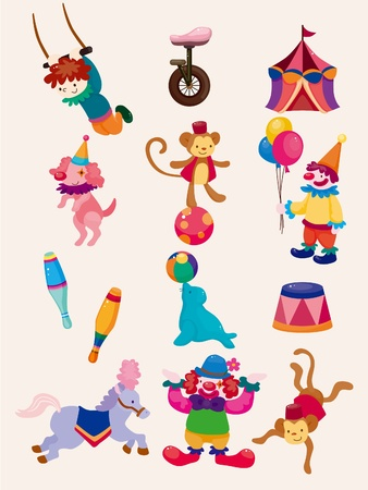 trapeze: cartoon happy circus show icons collection