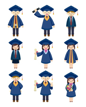 graduacion caricatura: Cartoon estudiantes graduados iconos conjunto