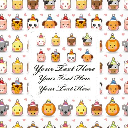 cartoon party animal head card Stock Vector - 10458399