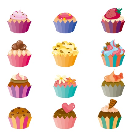 cup cakes: cartoon cake icons set  Illustration