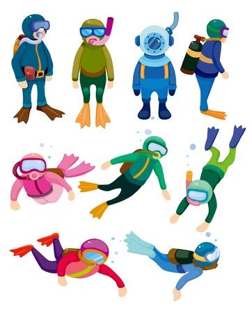 snorkel: cartoon duiker iconen Stock Illustratie
