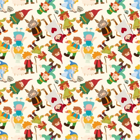 dwarfs: cartoon story people seamless pattern