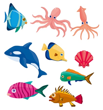 squid: cartoon fish icon  Illustration
