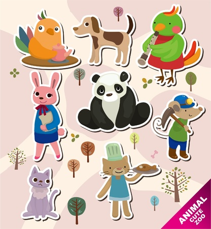 cartoon animal icons Vector