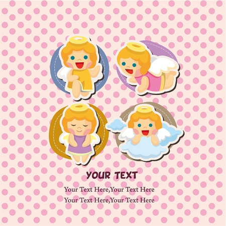 cute girl cartoon: angel card