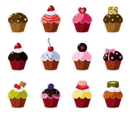 pink cake: cartoon cake icons set  Illustration