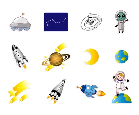 satellite in space: cartoon space icon