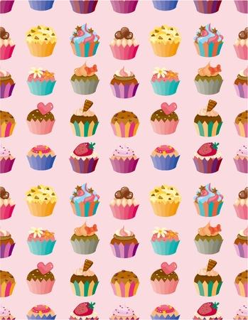 muffins: seamless cake pattern  Illustration