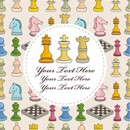 cartoon chess card Vector
