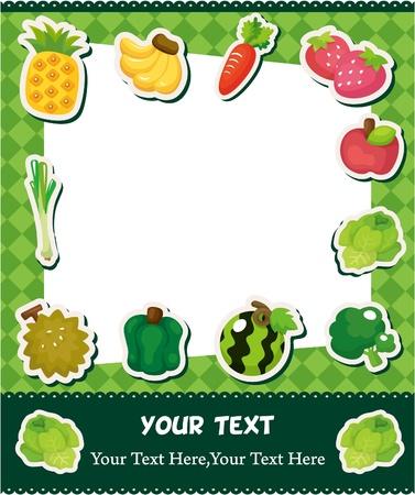 cartoon fruit card  Vector