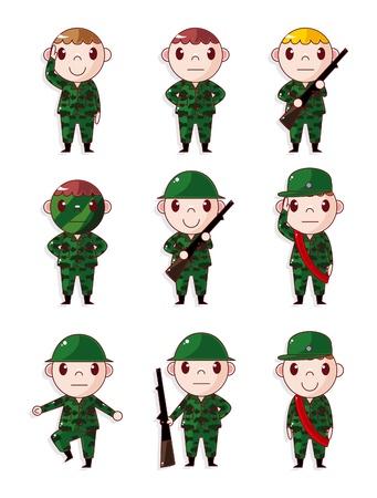 cartoon Soldier icons set  Vector