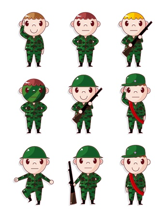 cannon: cartoon Soldier icons set