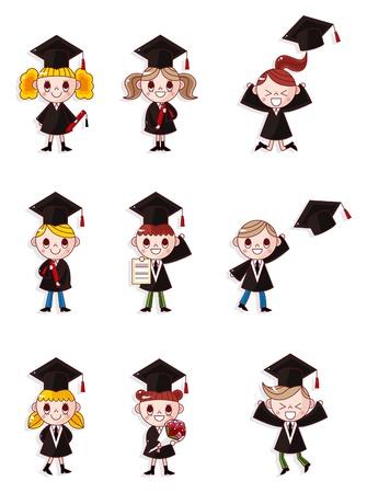 graduacion caricatura: Dibujo animado conjunto de iconos de estudiantes de posgrado
