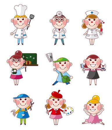 enfermero caricatura: gente de dibujos animados de trabajo iconos