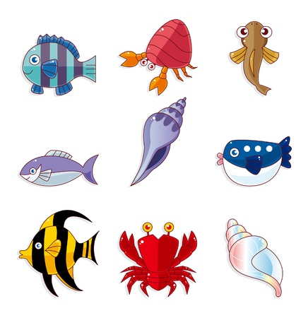 queue poisson: caricature poissons ic�nes Illustration