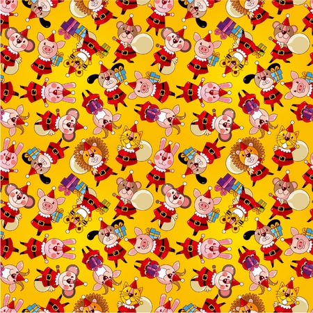 cartoon animal Santa Claus,xmas holiday seamless pattern Vector