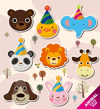kids birthday party: cartoon animal head icons Illustration