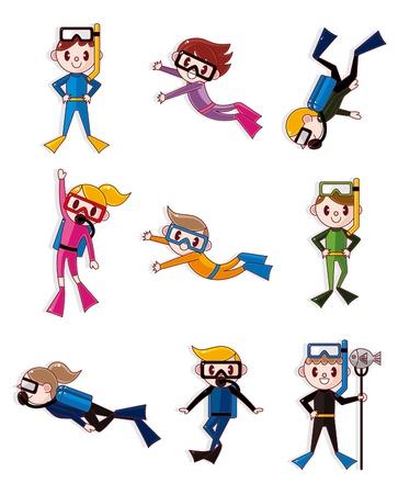 cartoon diver icons  Vector