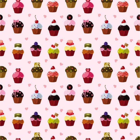 cupcake illustration: seamless cake pattern  Illustration
