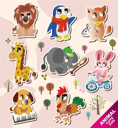 stickers: cartoon animal icons