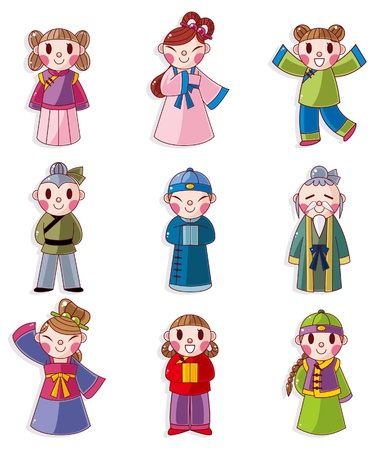 national costume: cartoon Chinese people icon set