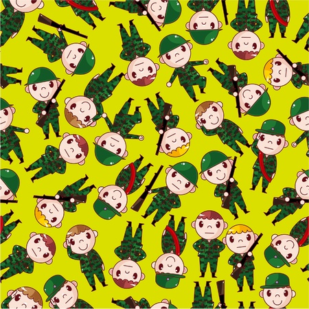cartoon Soldier seamless pattern  Vector
