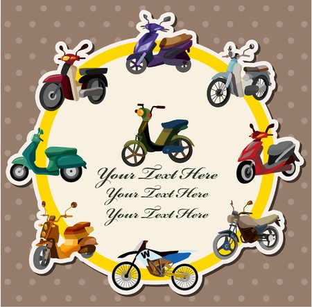 cartoon motorcycle card Vector Illustration