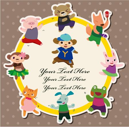cartoon animal dance card Vector