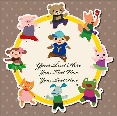 cartoon animal dance card Stock Vector - 10556477