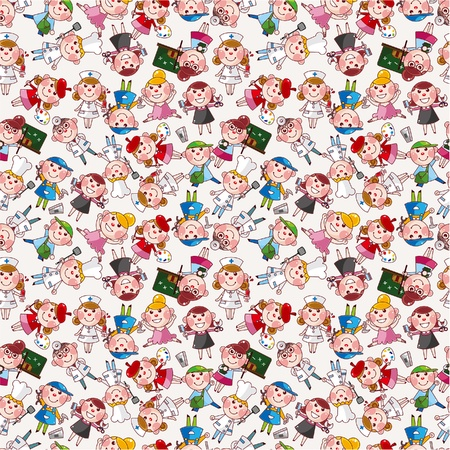 cartoon people job seamless pattern Vector