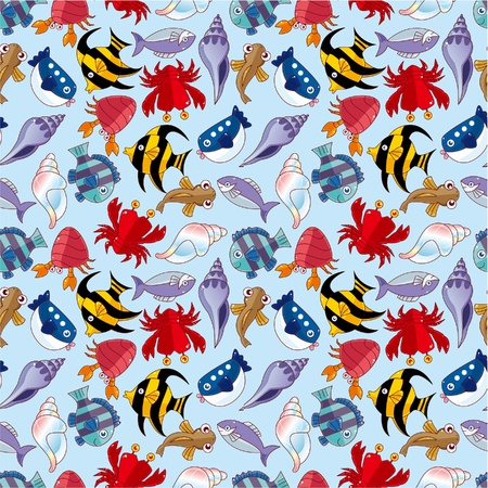 sunfish: cartoon fish seamless pattern