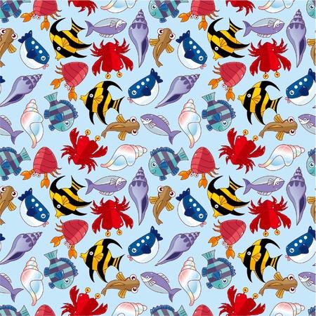 漫画の魚のシームレスなパターン