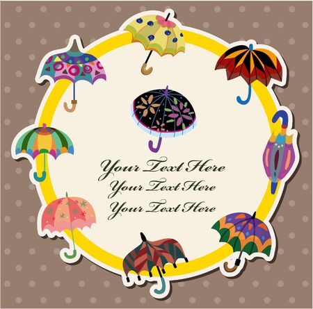 cartoon umbrella card  Vector