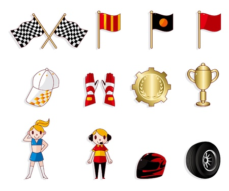 cartoon f1 car racing icon set  Vector