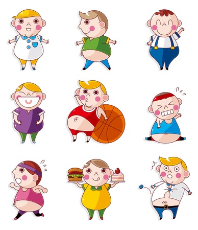 cellulite: Cartoon Fat people icons