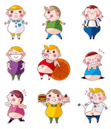 unhealthy: Iconos de dibujos animados gente gorda