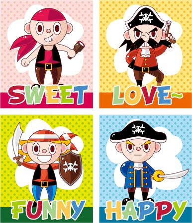 cartoon pirate card  Vector