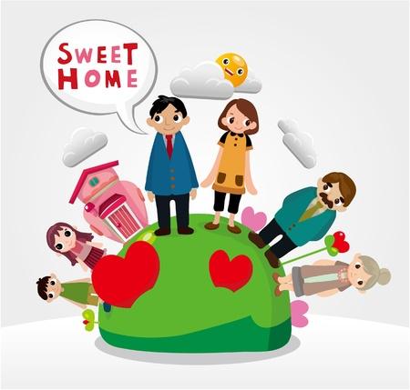mother cartoon: family card