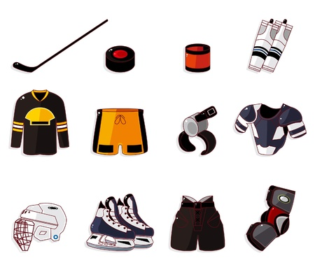 ice hockey player: Vector ice hockey icon set