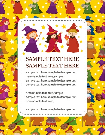 cartoon Wizard and Witch card Vector