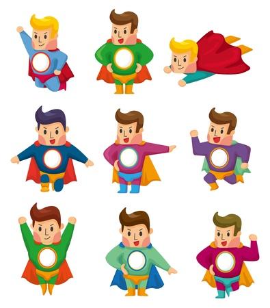 super human: iconos de dibujos animados superman Vectores