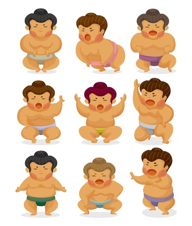 large group of objects: cartoon Sumo wrestler icons
