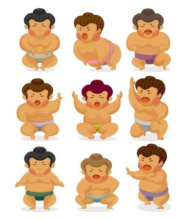 asian warrior: cartoon Sumo wrestler icons