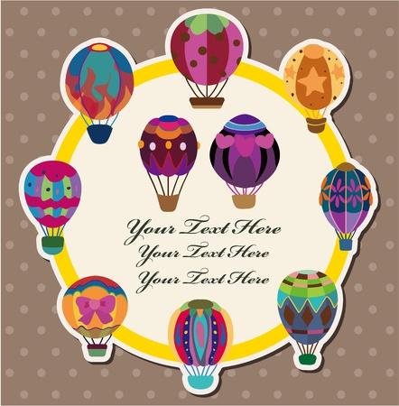 globos de fiesta: tarjeta de globo de aire caliente  Vectores