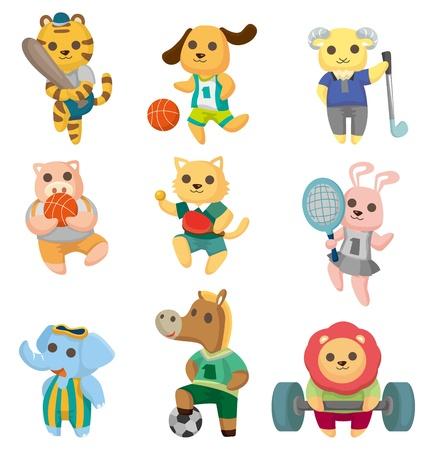 cartoon animal sport player icons set